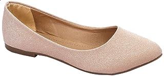 حذاء باليرينا جلد بجليتر وطرف مدبب للنساء من جرينتا