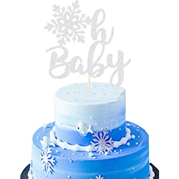 Sugar Plum Creations Oh Baby Snowflake Cake Topper Gold