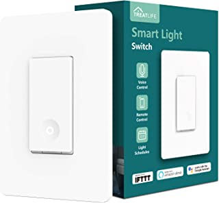 Smart Light Switch, Treatlife 2.4Ghz Smart Switch Wi-Fi Light Switch, Neutral Wire Required, Works with Alexa, Google Assistant and IFTTT, Single-Pole, Schedule, Remote Control, ETL Listed (1 PACK)