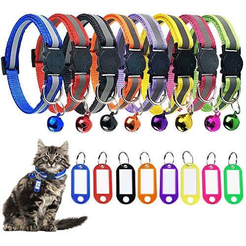 8 Pack Reflective Breakaway Cat Collar with Bell ID Tag, Adjustable Cat Collar with Bell Weatherproof ID Tag, Ideal Size Safe Durable Cat Collar Pet Collars for Cats Kittens