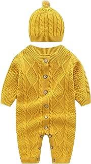 Newborn Infant Baby Boys Girls Clothes Snowsuit Footies Sweater Knit Crochet Romper Jumpsuit Hats 0-18 Month