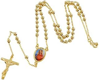 gold Lucky 9K Gold Filled Rosary Pray Bead Blessed Mary Cross Necklace 24 INCH,Z1949