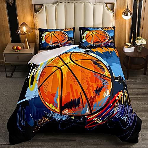 Juego de ropa de cama de baloncesto, Hip Hop Graffiti edredón para niños niños, decoración de ropa de cama de cultura callejera, pintura de bolas de acuarela, tamaño King, 3 piezas