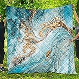 Fansu Tagesdecke Bettüberwurf Steppdecke Mikrofaser Doppelbett Einselbetten Tagesdecken Gesteppt Bettwäsche Sofaüberwurf Wohndecke Vergoldeter Marmordruck Bettdecke (Blau,150 * 200cm)