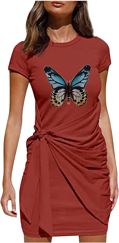 T Shirt Dresses for trust Women Summer Short Outstanding Love Butterfly Slee Print