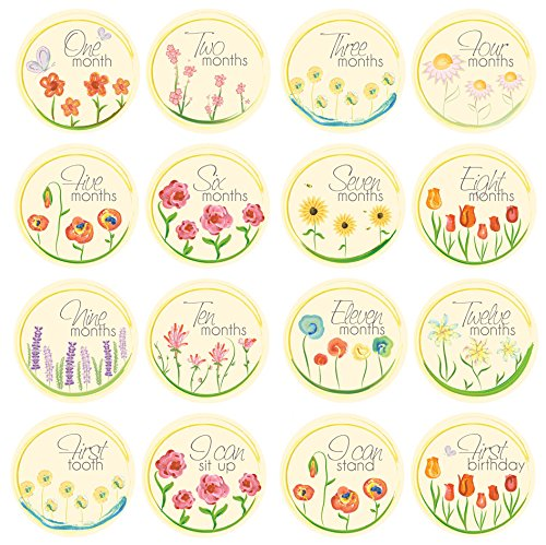 Baby Milestone Stickers by ZELDA MATILDA Gorgeous Watercolor Flowers Monthly Bodysuit Stickers for Girls- Beautiful and Original 16 piece- 4 Inch Sticker Set for Clothing A Must Have For Baby Pictures