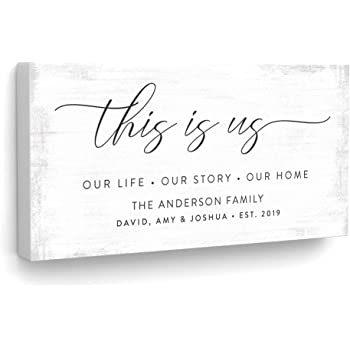 """Pretty Perfect Studio Custom This is Us Sign, Personalize Family Names on Canvas Wall Art 