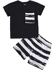 dfda031c93735 キッズ 上下セット 子供服 男の子 半袖 Tシャツ+ 縞模様 ショーツパンツ 韓国風