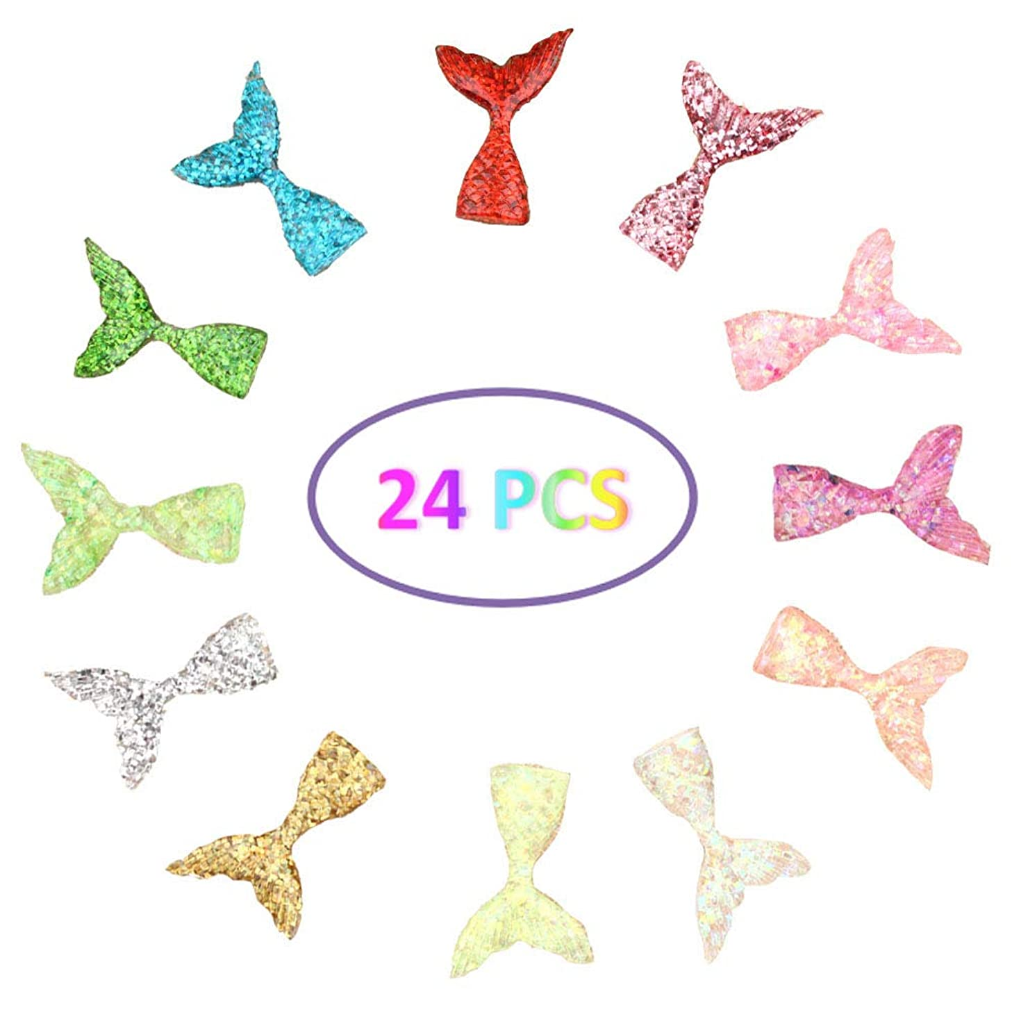 24 Pcs Slime Charms with Mermaid Tail Mini Flatback of Slime Beads Giltter for Ornament Scrapbooking DIY Crafts (One Size 24 pcs, Multicolored-3)