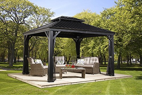 Sojag Messina Hard Top Sun Shelter, 10' by 12', Charcoal. The Best Metal Gazebo Kits Available