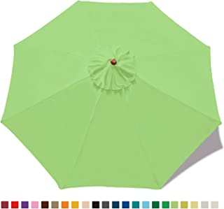MASTERCANOPY (30+ Colors) 9ft Market Round Umbrella Adjustment Replacement Canopy 8 Ribs(Canopy Only) (Grass Green)