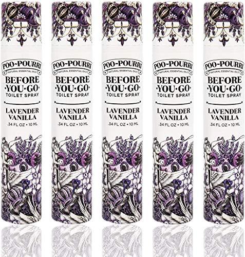 Poo-Pourri Lavender Vanilla 10 mL Before You Go Toilet Spray 5 Pack