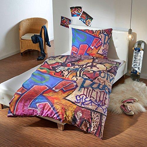 Traumschlaf Renforcé Bettwäsche Set Graffiti Wall • Coole Jugendzimmer Bettwäsche Berliner Mauer Mit Reißverschluss • 135x200 cm + 80x80 cm