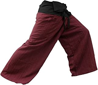 Authentic 100% Cotton Drill Gangaeng 2 Tone Thai Fisherman Pants Yoga Trousers, Burgundy/Charcoal, One Size, 2X-Large, Red