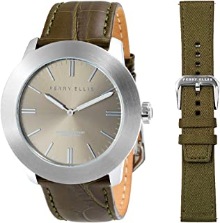 Perry Ellis Slim Line Quartz Watch Waterproof with Genuine Leather Band Replacement Wool Fabric Stainless Steel Straps for Men and Women