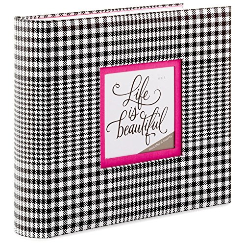 Hallmark Black and White Plaid with Pink Mat Preppy Photo Album Photo Albums Family & Relationships