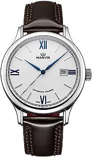 スイス製 Marvin 機械的ムーブメント ステンレスケース エボニーカラーレザーストラップ ホワイト文字盤 ブルーハンド 男性 メンズ ファッション腕時計