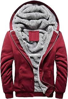 Gutsbox Męska bluza z kapturem z zamkiem błyskawicznym z długim rękawem, kurtka z kapturem, zimowa, ciepła bluza z kapture...