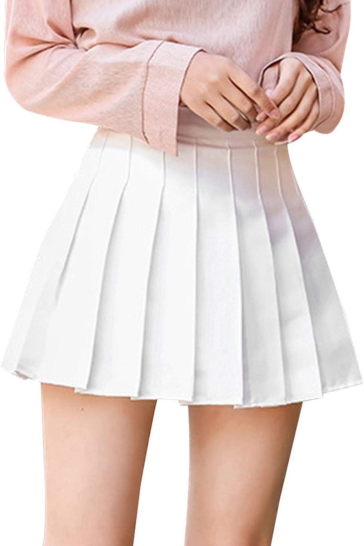 Girls Women High Waisted Plain Schoo Skirt Skater Pleated Tennis Max 79% OFF Manufacturer regenerated product