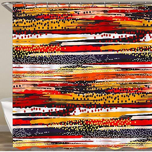 KGSPK Duschvorhang,Schwarzgold Gelbgrün Beigefarben,Wasserfeste Bad Vorhang aus Polyestergewebe mit 12 Haken Duschvorhang 180x180cm