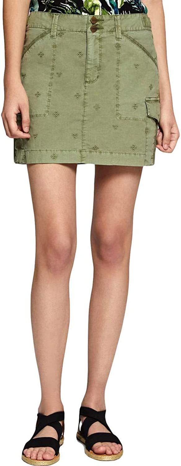 Sanctuary Womens Embroiderd Mini Cargo Skirt Green 25