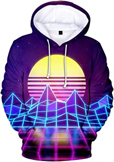 ADM6DYF Men's Plus Size Long Sleeve Pullover Hoodie, Loose Sweatshirt Sweater, 3D Printed Hooded Couple Wear Vaporwave