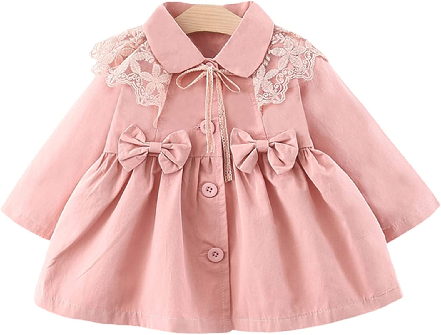Toddler Girls Button Large special price !! Down Jacket Casual Sleeve Front Max 86% OFF Bow L Long