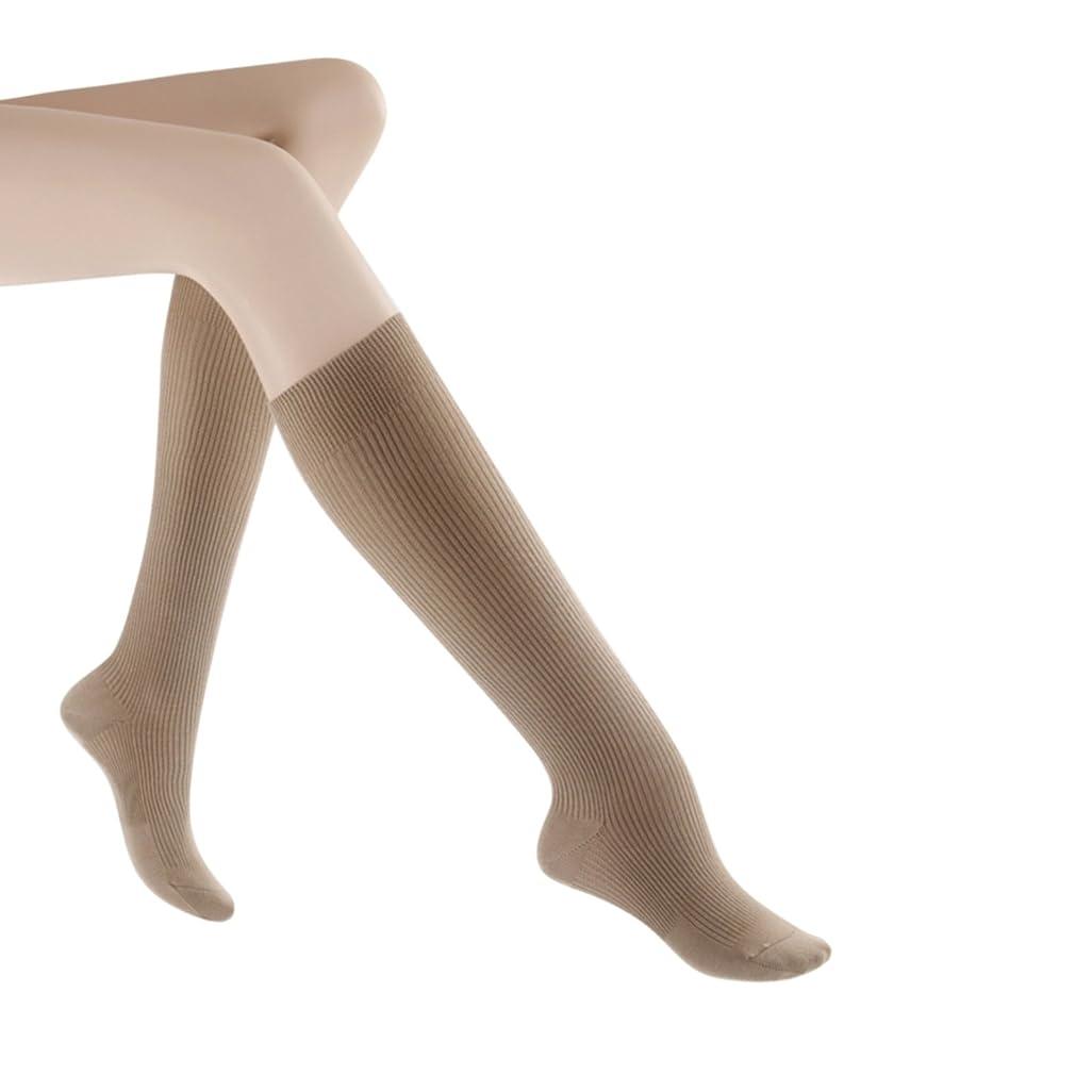 試験シード通り抜けるSigvaris 146CB30 Women's Casual Cotton 15-20mmHg Closed Toe Knee High Sock Size: B (7.5-9.5), Color: Khaki 30 by Sigvaris
