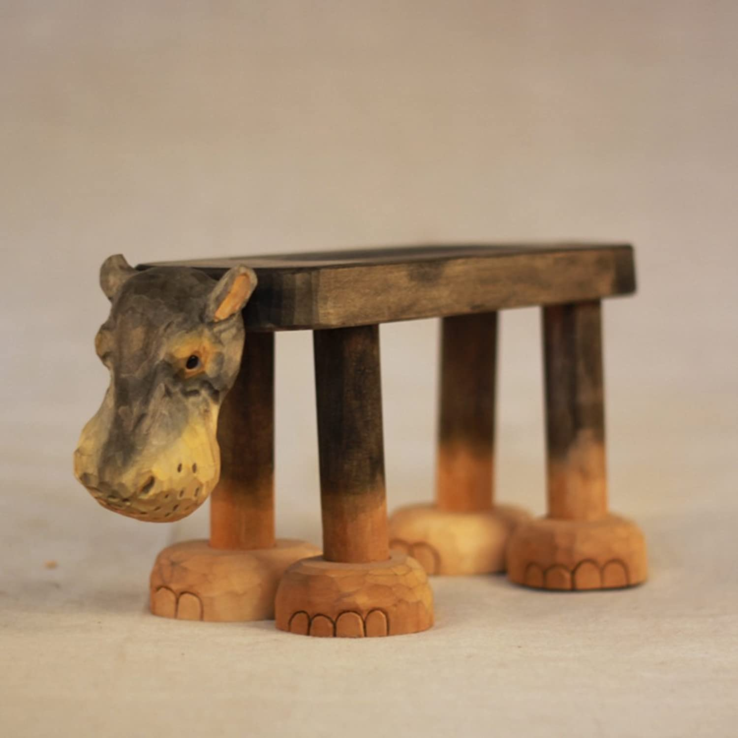 Footstool Animal Small Bench Hand Carving Gift Solid Wood Bench Home Decoration Ornaments-B