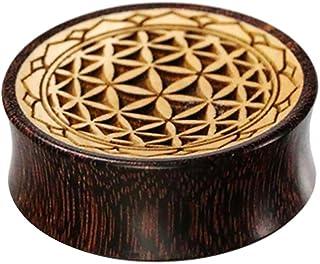 Chic-Net - Flesh tunnel in legno di tamarindone scuro e legno di coccodrillo chiaro con incisione del fiore della vita con...