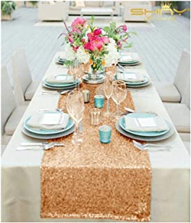 12''x72'' Rose Gold Sequin Table Runner Sparkly Metallic Sequin Runner for Wedding Party Dinner Reception, Event Bridalwedding Runner, Birthday Party, Dinner Party, Shower Ready to Ship!