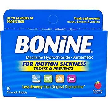 Bonine Raspberry Chewable Tablets for Motion Sickness 16  2 Pack  16 Count  Pack of 2
