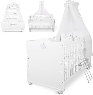 Lit Bébé Évolutif Berceau Lit junior en Bois blanc 140x70 cm + Matelas + Sommier à lattes + Set de lit + Ciel