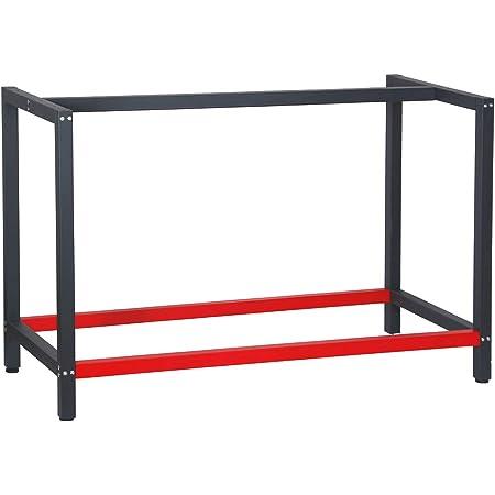 Bastidor para banco de trabajo 125x57x81cm Acero Antracita-rojo Armazón mesa taller Banco taller