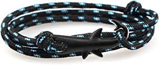 CandyBrowser Happiness Jewelry Nylon Rope Sailing Vikings Wrap Bracelet with Silver Color Nautical Shark Alloy Clasp 30 In...