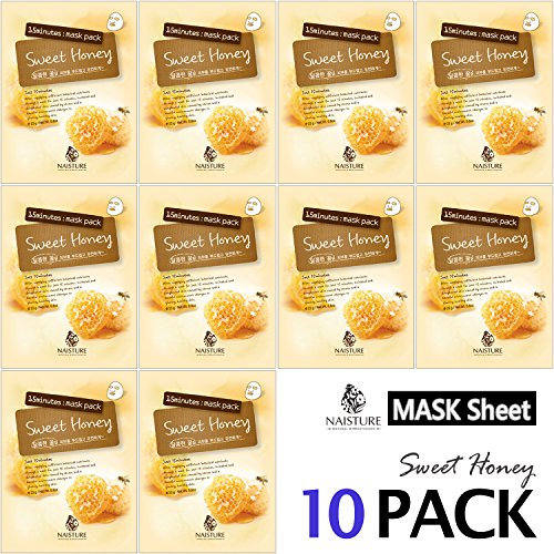 Collagen Facial Sheet Mask Pack (10 Sheets) Face Treatment [NAISTURE] Essence Face Masks - 15 Minute Application For Moisturizing Revitalizing Hydration 0.8 oz, Made in Korea - Sweet Honey