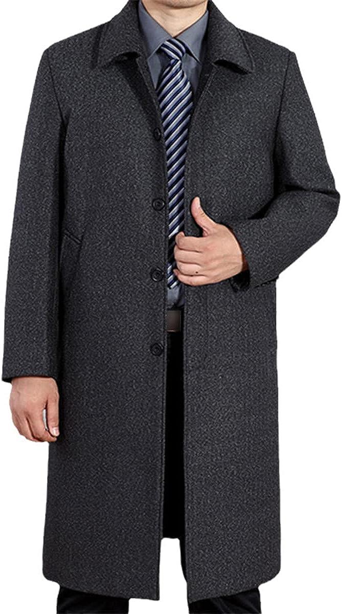 Men's Wool Coat Winter Long Coat Autumn Men's Wool Blended Coat Windbreaker