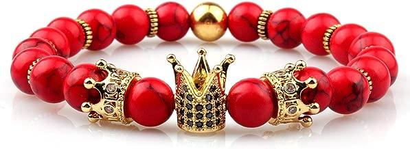GVUSMIL Imperial Crown Bead Bracelet King&Queen Luxury Charm Couple Jewelry Xmas Gift for Women Men