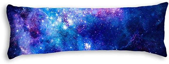 AILOVYO Colorful Pink Blue Galaxy Nebula Pattern Machine Washable Silky Soft Satin Decorative Body Pillow Case Cover, 20-Inch x 54-Inch