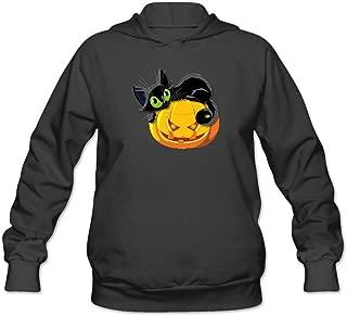 JUST Women's Lucky Cute Halloween Pumkin Cat Hoodie