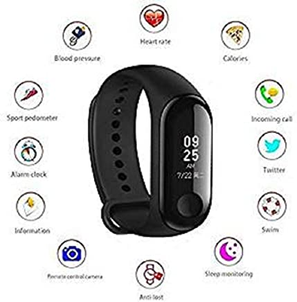 Goldtech M3 Activity Tracker Band 3 Wristband Smartwatch with Everyday Step Count, Heart Rate Monitoring for All Smart Phones/Device (Assorted Colour)