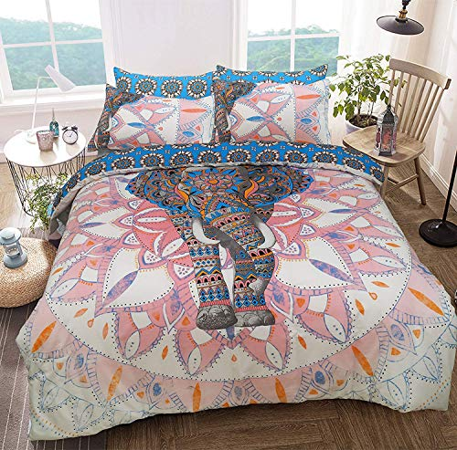 Sleepdown Elephant Mandala Pink/Blue Bed Reversable Quilt Duvet Cover Set Easy Care Anti-Allergic Soft & Smooth with Pillow Cases (Double)