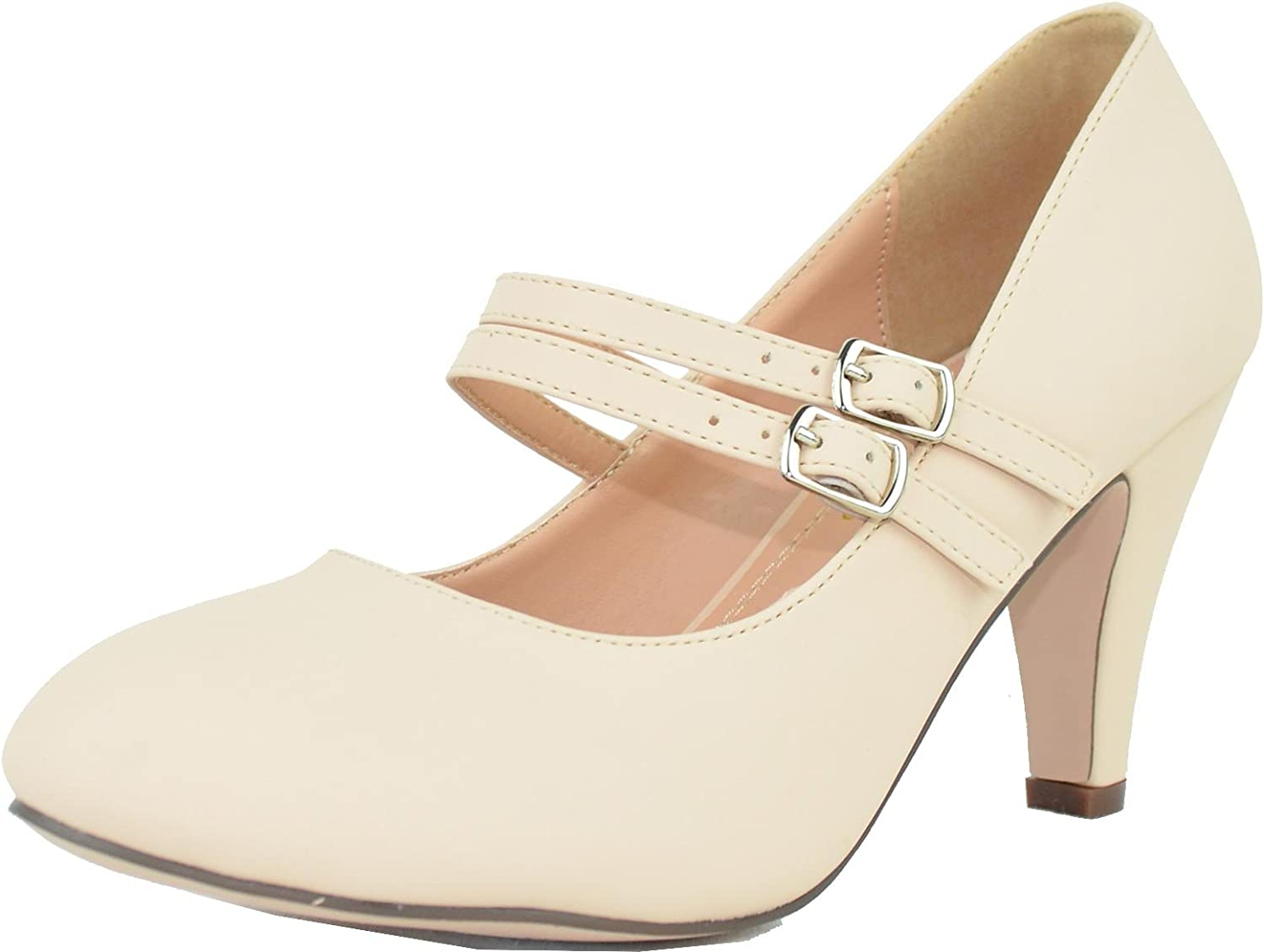 Chase & Chloe Women's Mary Jane Double Strap Buckle Pump