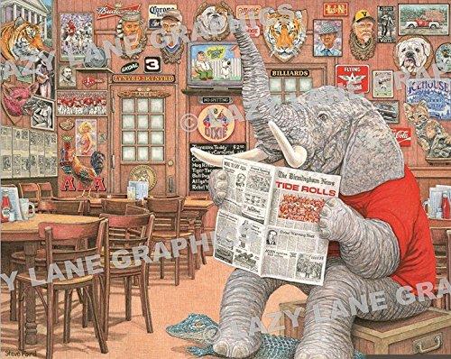 Artist Steve Ford Alabama Crimson Tide Elephant in The Room Art Print