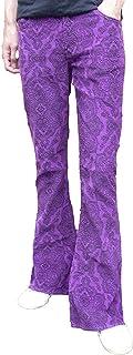 Fuzzdandy - Pantaloni svasati da uomo, motivo cachemire, in velluto a coste, stile hippie, mod, indie, stile retrò, vintage