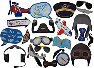 Airplane Photo Props (32 Pieces) for Photo Booths, Kids Birthdays, Airplane Parties and More! Our Airplane Photo Prop Party Favors are Pre-Made (Not DIY) for Your Convenience!