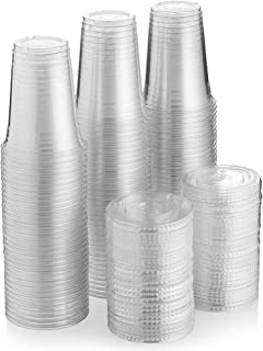 SNH Juice Cup 16Oz With Lid Clear Strong Disposable 50 Pieces - Ideal for iced coffee, smoothies, Bubble Boba tea, milksha...