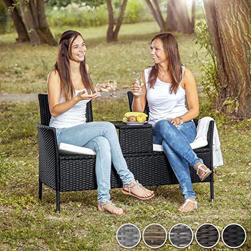TecTake Sitzbank mit Tisch Poly Rattan Gartenbank Gartensofa inkl. Sitzkissen – Diverse Farben – (Schwarz-Braun | Nr. 401548) - 2