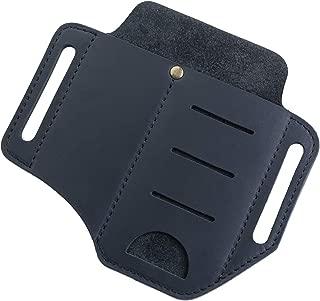 VIPERADE EDC Leather Sheath for Knife/Flashlight/Tactical pen/Tools and EDC Gear, Handmade Pocket EDC Oragnizer Leather Sheath, 2 pockets Belt Sheath (Black)