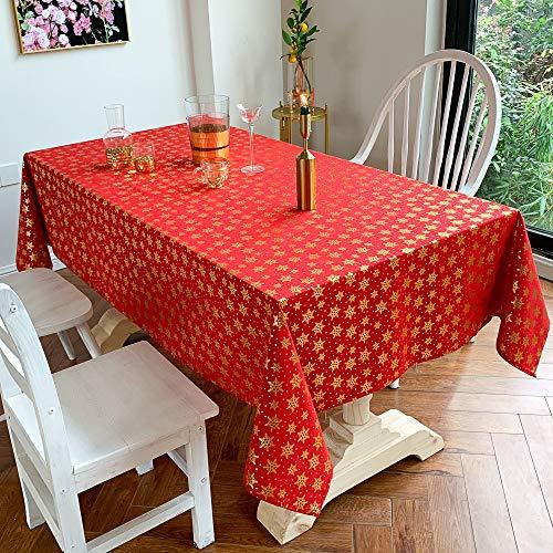 DJUX Weihnachtstischdecke, bedruckt, Urlaub, Party, Tischdecke, rot, 140 x 240 cm, Rot-2, 90*90cm